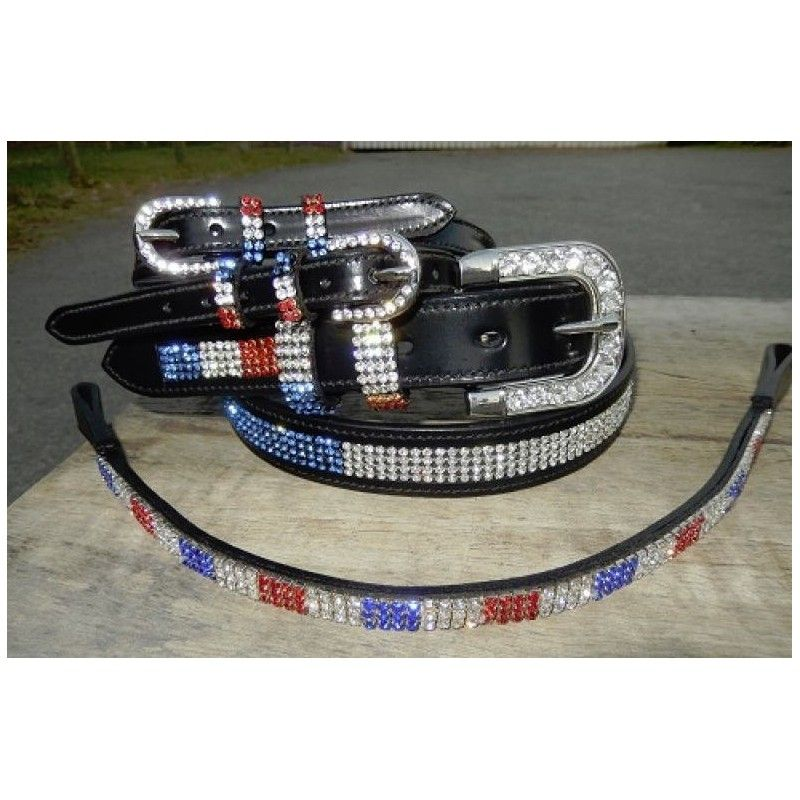 Ladies  dress belt belt, brow band and spur strap set  red white and blue
