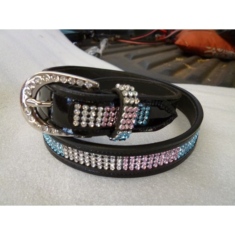 Ladies dress belt light red , white and blue  - Ladies Belts and Spur Straps