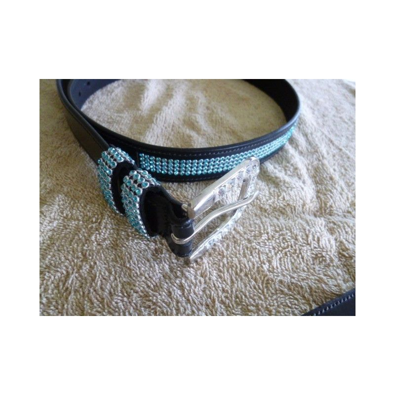 Ladies dress belt blue crystal test product  - Ladies Belts and Spur Straps