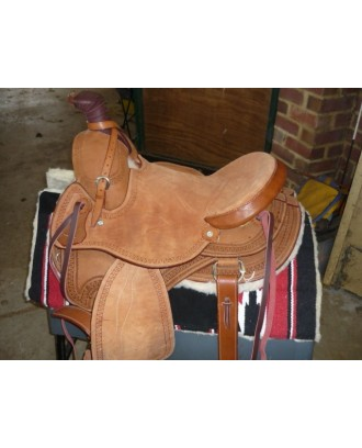 Western Roper raw leather  leather chestnut
