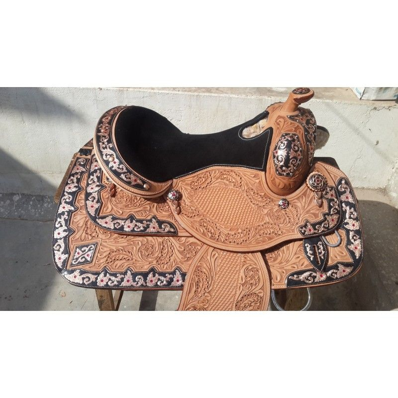 western show saddle 740415 black metal work