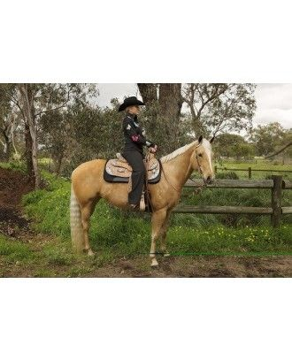 Western show saddle  model RI445 black inlay