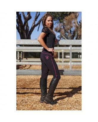 Black with Pink Pinstripe Jodhpurs - Jodhpurs and breeches