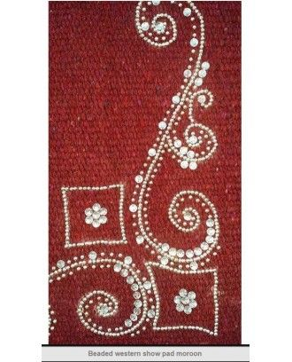 Western Show Saddle Pad with maroon wool cloth ,silver bead