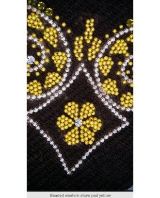 Western Show Saddle Pad Black wool  gold bead