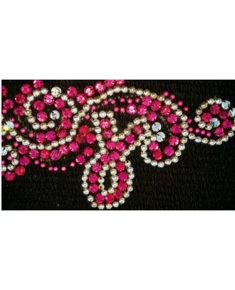 Western Show Saddle Pad  Black wool , blue and pink  bead