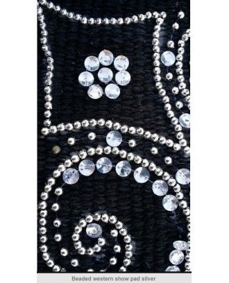 Western Show Saddle Pad  Black wool , silver bead