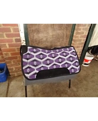 western or fender saddle pad shaped felt underside with coloured wool topside purple - Stock and western Saddle Pads