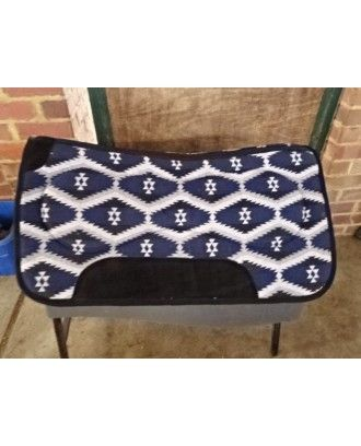 shaped felt underside with navy blue coloured wool topside