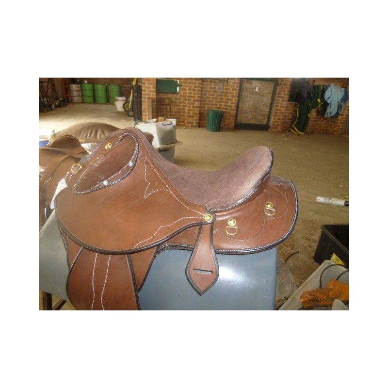 Texas Tea Drover Chestnut Leather Suide Seat